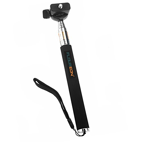FLOUREON® Extendable Telescopic Handheld Pole Arm Monopod Black with Tripod Adapter for Gopro HD Hero 4/3/2/1 Digital Camera Shipped From US