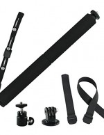 """GoPro Pole by CamKix - Adjustable Telescopic Pole with Attachment Straps for Wifi Remote - 14"""" to 40"""" Extension - Twist and Lock Easy Extension and Retraction - Tripod Mount Suitable for GoPro Hero 1, 2, 3, 3+, 4 and Other Cameras - 1 Wifi Remote Strap / 1 Wrist Strap / 1 Lanyard Included"""