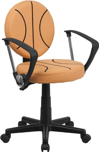 Flash Furniture BT-6178-BASKET-A-GG Basketball Task Chair with Arms, Black/Orange