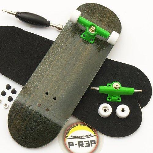 Peoples Republic Black Complete Wooden Fingerboard w Nuts Trucks – Basic Bearing Wheels