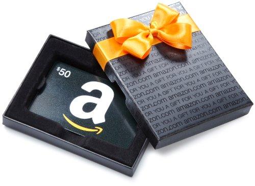 Amazon.com Black Gift Card Box – $50, Classic Black Card